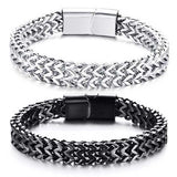 "316L Stainless Steel ""Black Wheat"" Biker Bracelet - Blown Biker - 05"