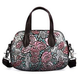 "Embossed Leather ""Roses"" Womens Handbag - Blown Biker - 6"