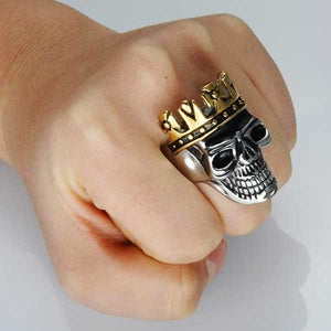 "316L Stainless Steel ""Crown Skull"" Ring - Blown Biker - 06"