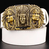 """Indian Chief"" Metal Belt Buckle with Belt & Lighter - Blown Biker - 3"