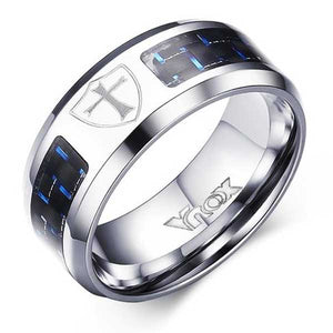 Engraved Stainless Steel Ring w/ Carbon Fiber Inlay - Blown Biker - 6
