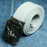"Military ""Danger Skull"" Tactical Woven Belt - Blown Biker - 7"