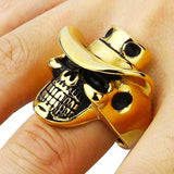 "316L Stainless Steel ""Cowboy Skull"" Ring - Blown Biker - 7"