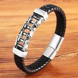 "316L Stainless Steel & Leather ""Half And Half"" Biker Bracelet - Blown Biker - 6"