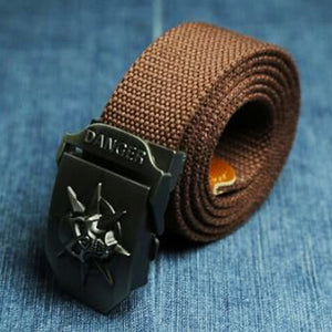 "Military ""Danger Skull"" Tactical Woven Belt - Blown Biker - 8"
