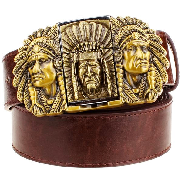 """Indian Chief"" Metal Belt Buckle with Belt & Lighter - Blown Biker - 2"