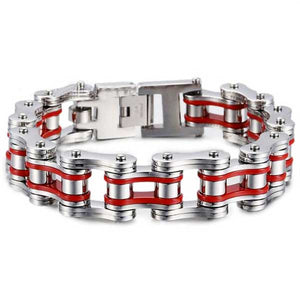 "316L Stainless Steel ""Chunky Colors"" Biker Bracelet - Blown Biker - 7"