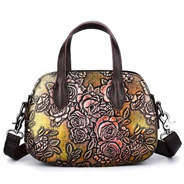 "Embossed Leather ""Roses"" Womens Handbag - Blown Biker - 7"