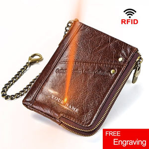 Personalized Vintage Leather Bifold Chain Wallet - Blown Biker - 1