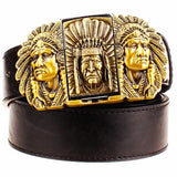 """Indian Chief"" Metal Belt Buckle with Belt & Lighter - Blown Biker - 1"