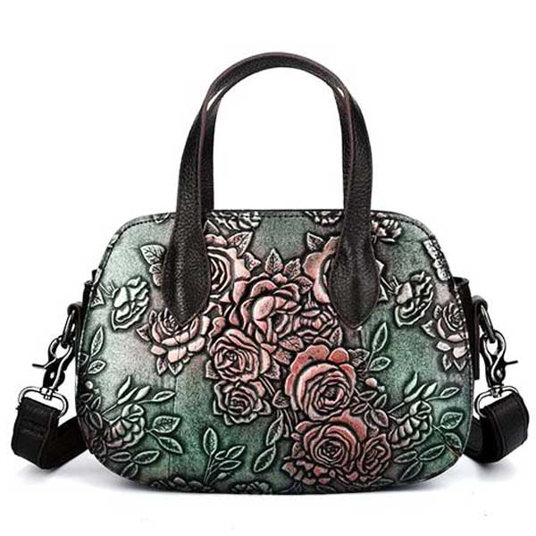 "Embossed Leather ""Roses"" Womens Handbag - Blown Biker - 8"