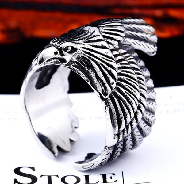"316L Stainless Steel ""American Eagle"" Ring - Blown Biker - 3"