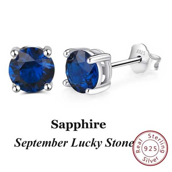 "925 Sterling Silver ""Birthstone"" Cubic Zircon Earrings - Blown Biker - 11"