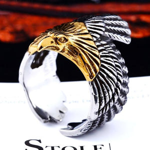 "316L Stainless Steel ""American Eagle"" Ring - Blown Biker - 7"