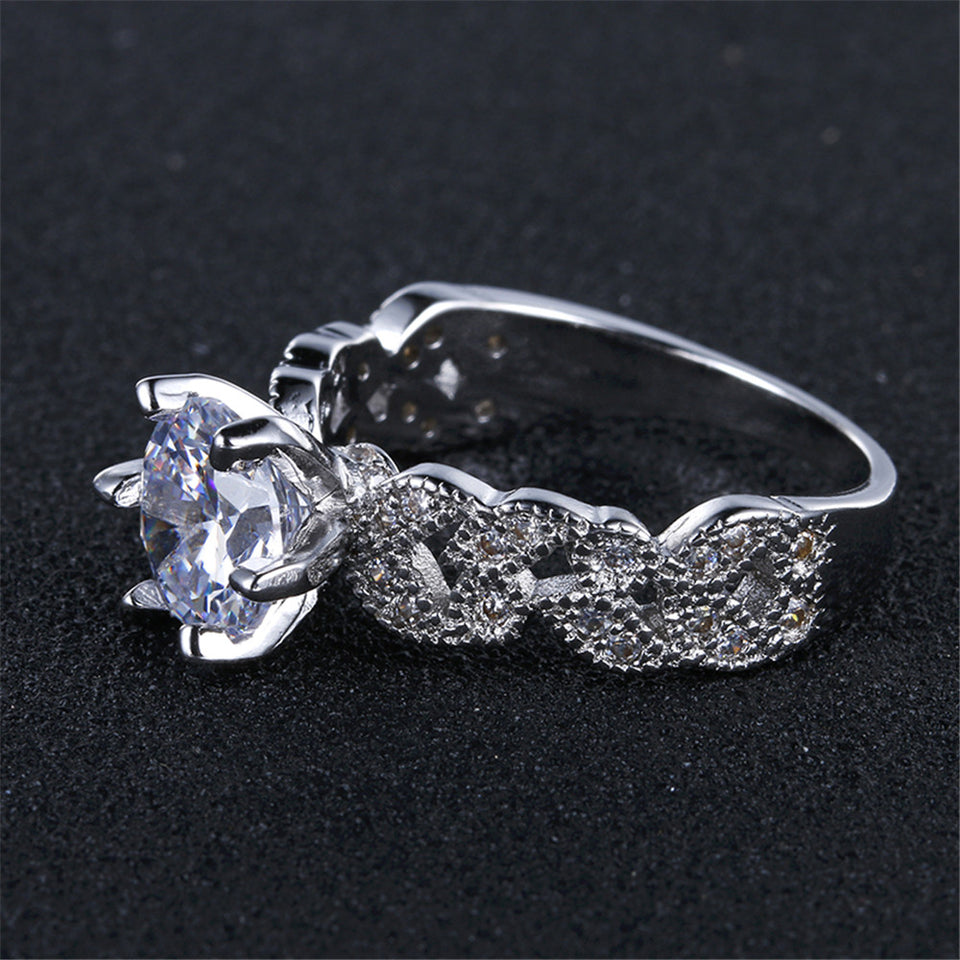"925 Sterling Silver ""AAA Zircon"" Women's Ring - Blown Biker - 5"
