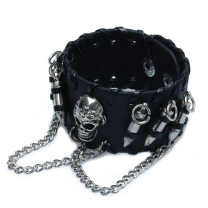 "Leather ""Skull And Bullets"" Bracelet - Blown Biker - 3"