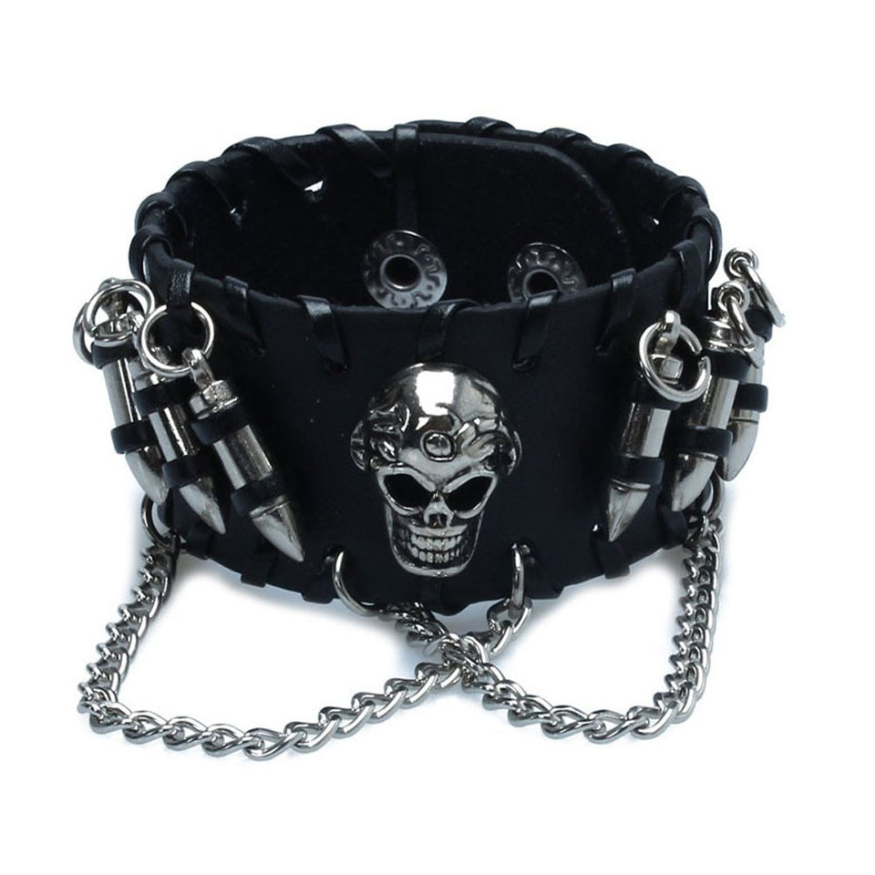 "Leather ""Skull And Bullets"" Bracelet - Blown Biker - 1"