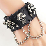 "Leather ""Skull And Bullets"" Bracelet - Blown Biker - 4"