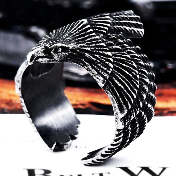 "316L Stainless Steel ""American Eagle"" Ring - Blown Biker - 5"