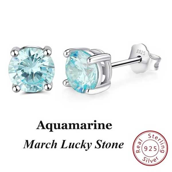 "925 Sterling Silver ""Birthstone"" Cubic Zircon Earrings - Blown Biker - 12"