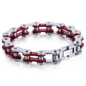 "316L Stainless Steel ""Cherry Red"" Biker Bracelet - Blown Biker - 3"