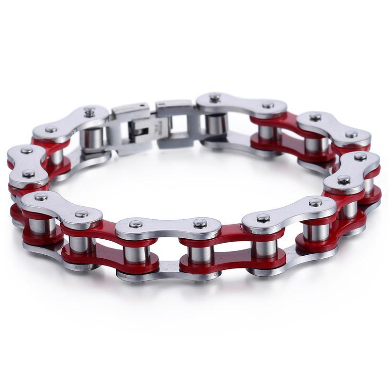 "316L Stainless Steel ""Cherry Red"" Biker Bracelet - Blown Biker - 1"