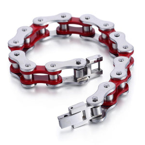 "316L Stainless Steel ""Cherry Red"" Biker Bracelet - Blown Biker - 4"