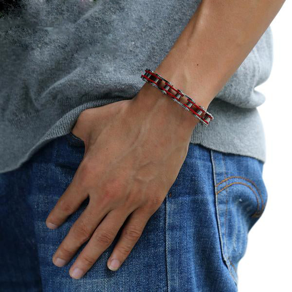 "316L Stainless Steel ""Cherry Red"" Biker Bracelet - Blown Biker - 2"
