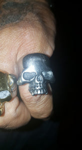 "316L Stainless Steel ""Polished Skull"" Ring - Blown Biker - 8"