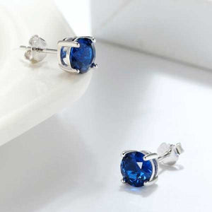 "925 Sterling Silver ""Birthstone"" Cubic Zircon Earrings - Blown Biker - 16"