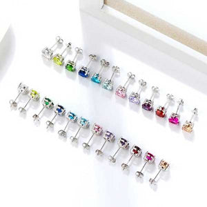 "925 Sterling Silver ""Birthstone"" Cubic Zircon Earrings - Blown Biker - 17"