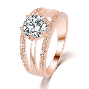 "Rose Gold ""Austrian Flowers"" Crystal Ring - Blown Biker - 1"