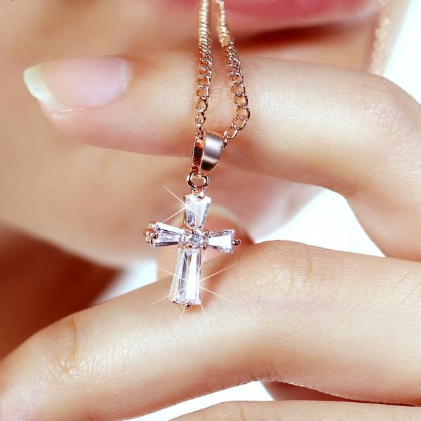 "Rose Gold ""Biker Cross"" Cubic Zironica Pendant Necklace - Blown Biker -1"