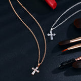 "Rose Gold ""Biker Cross"" Cubic Zironica Pendant Necklace - Blown Biker -4"