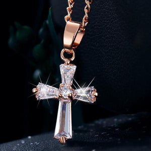 "Rose Gold ""Biker Cross"" Cubic Zironica Pendant Necklace - Blown Biker -3"