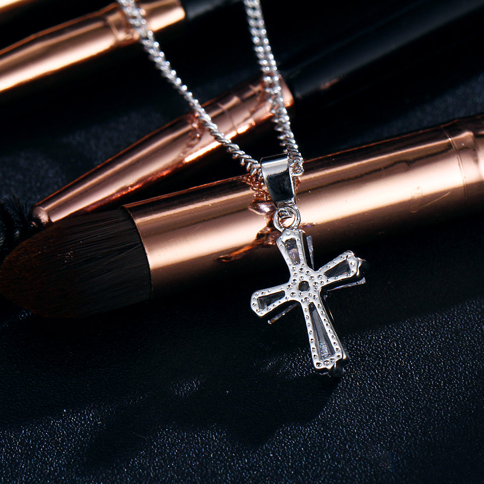 "Rose Gold ""Biker Cross"" Cubic Zironica Pendant Necklace - Blown Biker -5"
