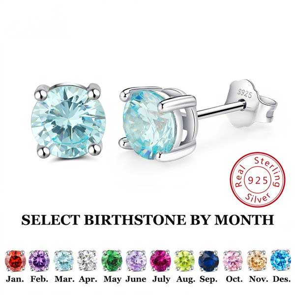 "925 Sterling Silver ""Birthstone"" Cubic Zircon Earrings - Blown Biker - 1"