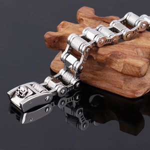 "316L Stainless Steel ""Turned Steel"" Biker Bracelet - Blown Biker - 3"