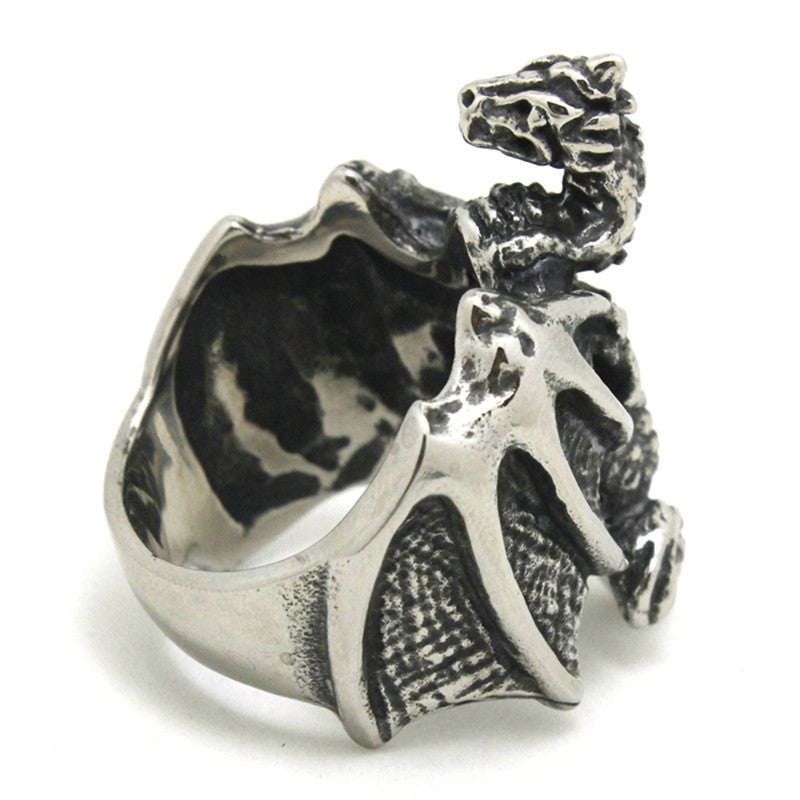 "316L Stainless Steel ""Flying Chinese Dragon"" Ring"
