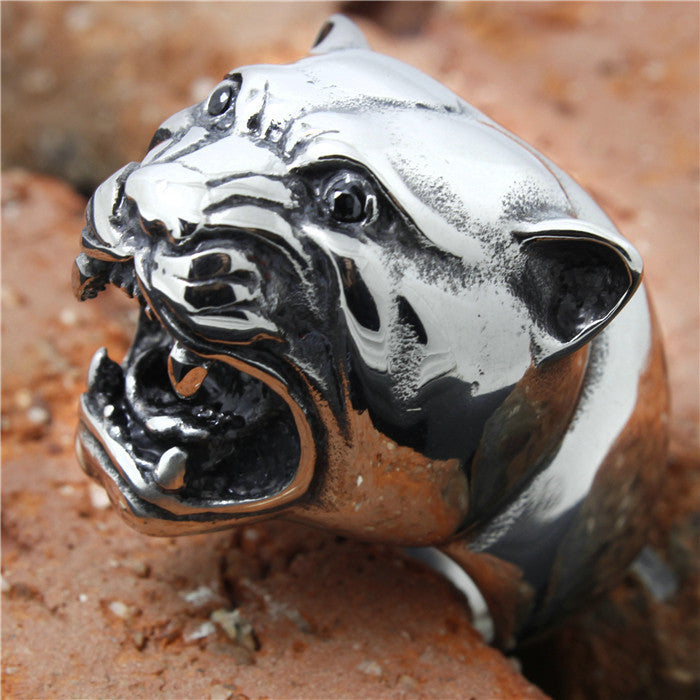 "316L Stainless Steel ""Tiger Head"" Ring"