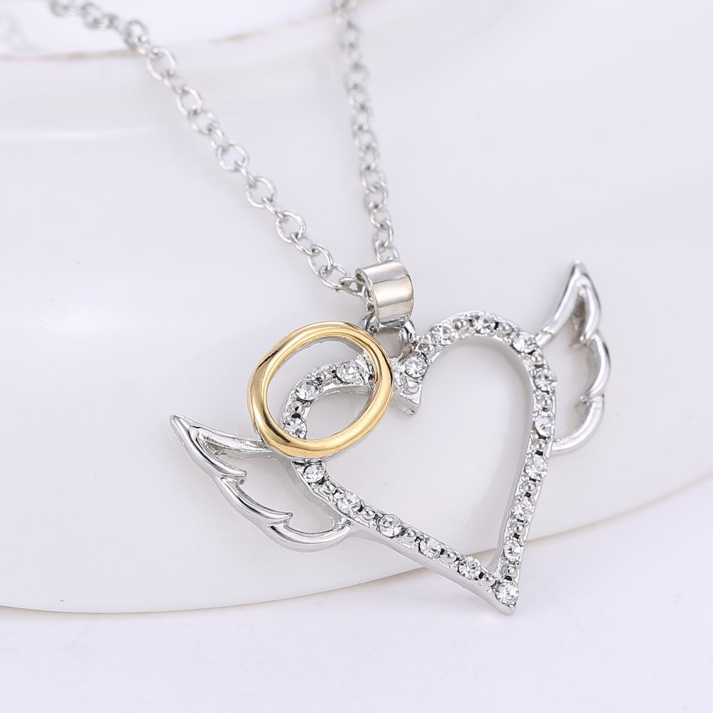 Angel wings gold ring pendant necklace blown biker angel wings gold ring pendant necklace mozeypictures Choice Image