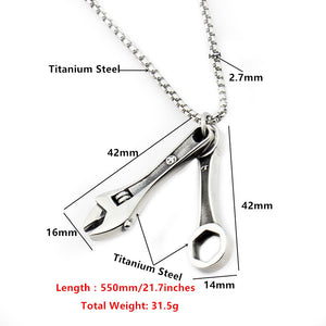 "316L Stainless Steel ""Real Tools"" Necklace - Blown Biker - 6"