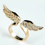 "Rhinestone ""Golden Wings"" Womens Ring - Blown Biker - 4"