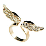 "Rhinestone ""Golden Wings"" Womens Ring - Blown Biker - 5"