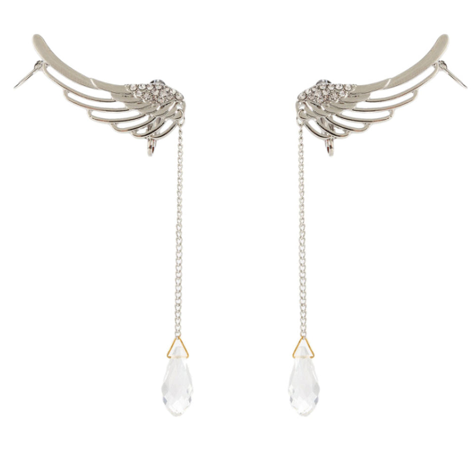 """Water Droplet"" Angel Wings Earrings - Blown Biker - 4"
