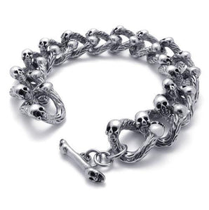 "316L Stainless Steel ""Bone Chain"" Biker Bracelet - Blown Biker - 1"