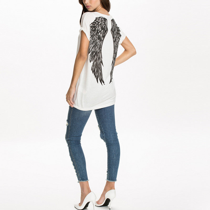 "Printed ""Angel Wings"" T-Shirt - Blown Biker - 4"