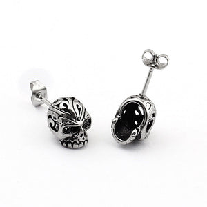 "316 Stainless Steel ""Colored Eyes"" Skull Earrings - Blown Biker - 4"