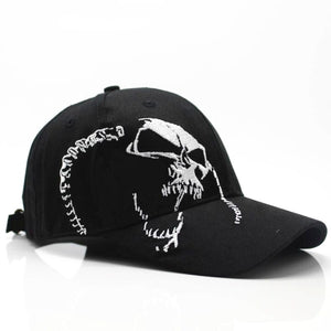 "100% Cotton ""Skull"" Embroidered Snapback Cap - Blown Biker - 1"