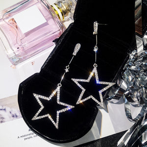 """Rhinestone Stars"" Crystal Earrings - Blown Biker - 01"